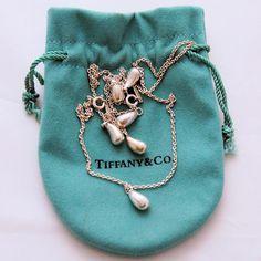 Tiffany 925 Sterling Silver Elsa Peretti Teardrop Bracelet Pendant Necklace Signed from Antik Avenue on Ruby Lane