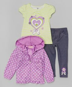 Look what I found on #zulily! Kids Headquarters Green & Purple Heart Tee Set - Infant by Kids Headquarters #zulilyfinds