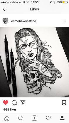 Tattoo Design Drawings, Art Drawings, Tattoo Designs, Body Art Tattoos, Girl Tattoos, Sleeve Tattoos, Tattoo Gesicht, Creepy Tattoos, Witch Tattoo