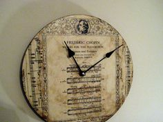 Classical Music Chopin clock vintage sheet music by jensdreamdecor, 39.50
