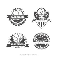 Pack of four retro basketball logos Free Vector Nba Basketball Hoop, Basketball Logo Design, Basketball Boyfriend, Basketball Signs, Basketball Tattoos, Basketball Decorations, Basketball Videos, Street Basketball, Basketball Posters