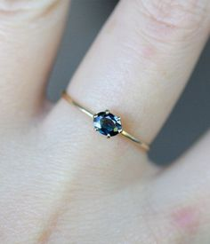 Blue Princess Blue Sapphire 14K Gold RIng by louisagallery