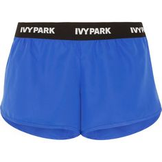 IVY Park Shell shorts ($34) ❤ liked on Polyvore featuring shorts, blue, pull on shorts and blue shorts