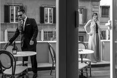 Stylish couple, wedding guests, Rome