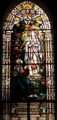 Our Lady of Lourdes & St. Bernadette Soubirous ~ stained glass at Saint Joseph Catholic Church, Makawao Maui Hawaii