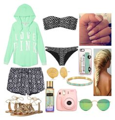 Beach Bonfire by emily5302 on Polyvore featuring polyvore, fashion, style, Victoria's Secret PINK, RVCA, Billabong, Kate Spade, Ray-Ban, Casetify, Polaroid and clothing