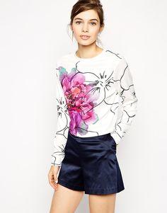 ASOS   ASOS Neat Sweatshirt In Texture With Statement Floral Print at ASOS
