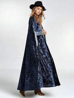 Long Coat Blue Hip Bohemian Velvet Trench Coat, International Sizing, Please Read Description Boho Fashion Winter, Dark Fashion, Modern Fashion, Boho Outfits, Fashion Outfits, Women's Fashion, Sequin Coats, Hippie Style Clothing, Longline Cardigan