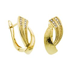 7c64d5d00358 20H959 Huggies fabricadas en oro laminado decoradas con grecas y zirconias  facetadas montadas a