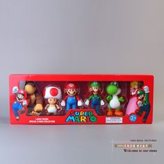 """(26.08$)  Watch now - http://aiahy.worlditems.win/all/product.php?id=1855861344 - """"Super Mario Bro Mario Luigi Donkey Kong Peach Toad Yoshi PVC Action Figure Model Toys Dolls 5"""""""" 12cm 6pcs/set New in Box SMFG198"""""""