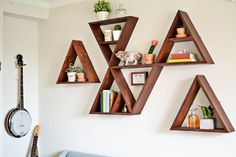 Triangle shelf DIY - I love the one with a smaller triangle inside the larger one