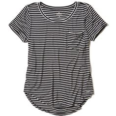 Hollister Must-Have Easy Pocket Tee ($17) ❤ liked on Polyvore featuring tops, t-shirts, hollister, black stripe, curved hem tee, striped tee, striped crew neck t shirt, embroidered t shirts and crew-neck tee