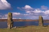 Standing stones at Kensaleyre, on the edge of Loch Snizort Beag. Stock photo of the Isle of Skye, Scotland. Part of the Britain Express Travel and Heritage Picture Library, Scotland collection. Glen Ord, Scottish Holidays, Riverside Cottage, The Loch, Cairngorms, History Photos, Scottish Highlands, Canvas Art Prints, Countryside