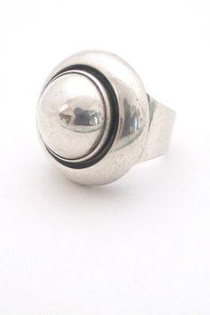 Niels From, Denmark - large round Modernist dome ring #Denmark #ring