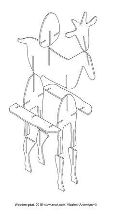 Wooden goat on Behance Cardboard Animals, Cardboard Furniture, Cardboard Crafts, Wood Crafts, Paper Crafts, Wood Projects, Woodworking Projects, Craft Projects, 3d Laser Printer
