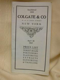 Vintage 1907 Colgate & Co Toilet Soaps New York Price List Perfumery Advertising #ColgateCo