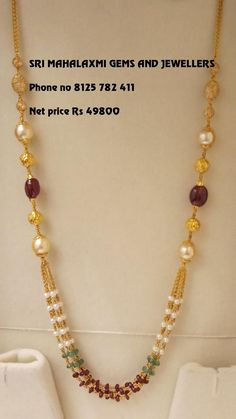 Check Out The Complete Pearl Chain Designs Here! Pearl Necklace Designs, Jewelry Design Earrings, Gold Earrings Designs, Jewelry Necklaces, Pearl Jewelry, Gold Jewellery, Silver Jewelry, Necklace Chain, Diy Jewelry