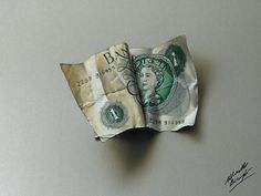 Old One Pound note DRAWING by Marcello Barenghi by marcellobarenghi