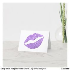 Girly Faux Purple Bokeh Sparkles Glitter Thank You Card