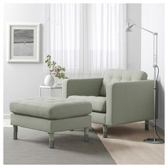 IKEA - MORABO, Armchair, Gunnared light green/metal, Seat cushions filled with high resilience foam and polyester fiber wadding provides great seating comfort. Fabric Armchairs, Fabric Ottoman, Ikea Landskrona, Living Room Furniture, Home Furniture, Ikea Duktig, Pouf Cuir, Living Room Green, Reclining Sofa