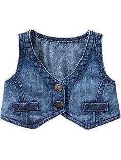 Cropped Denim Vests for Baby Old Navy Toddler Vest, Kids Vest, Toddler Girl, Vest Outfits, Baby Boy Outfits, Baby Fur Vest, Unique Baby Boy Clothes, Denim Vests, Denim Overalls