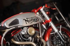 Chopper Norley to the Curing Kids' Cancer charity, and it went under the hammer at a Mecum Auction in May. The price? A cool 50,000 dollars  #harley #cancer #norton #charity #norley