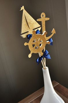 Nautical Baby Shower Decorations. Ships in 2-5 Business Days. Nautical Centerpiece. 3CT.