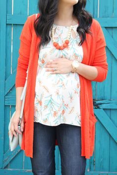Maternity Style: White Floral Print Blouse + Orange Cardigan + Jeans + Statement Jewelry