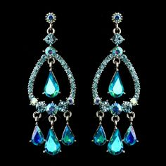 Elegance by Carbonneau Silver Turquoise AB Crystal & Rhinestone Chandelier Bridal Earrings 8686 Prom Earrings, Bridal Earrings, Crystal Earrings, Crystal Rhinestone, Silver Earrings, Bridesmaid Accessories, Bridal Accessories, Jewelry Accessories, Jewelry Design