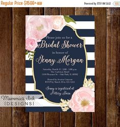 Brunch bubbly invitation bridal shower invite pink peonies gray watercolor peonies bridal shower invitation navy and white stripes shower invitation watercolor pink roses gold glitter invitation navy filmwisefo