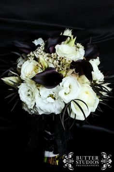 Needs Some Gold Sparkles Sprayed Onto The Light Colored Flowers And A Ribbon Your Wedding Company Black White Theme