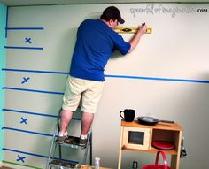 taping lines off to stripe wall... I think I could do this... I think