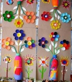 plastic bottle art Craft Idea for a Kids Party: Set up stations with cardboard, straws, paper, paint, and plastic bottle tops so each child can created a vase of flowers. For younger Bottle Top Art, Bottle Top Crafts, Plastic Bottle Tops, Plastic Bottle Flowers, Plastic Straw Crafts, Art For Kids, Crafts For Kids, Craft Station, Egg Carton Crafts