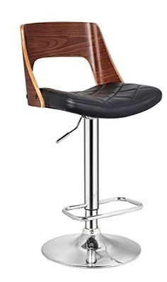 Christies Home Living Bentwood Contemporary Modern Stylish Wood Back Adjustable Swivel Bar Stool with Diamond Quilted Finish Curved Seat and Back