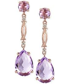 Rose Amethyst (13 ct. t.w.) and Diamond Accent Drop Earrings in 14k Rose Gold