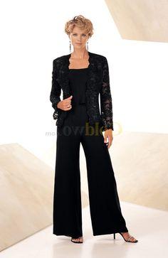 Dressy Black Pant Suits Plus Size