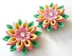 Kanzashi  Fabric Flowers. Set of 2 hair clips. Pink. от JuLVa