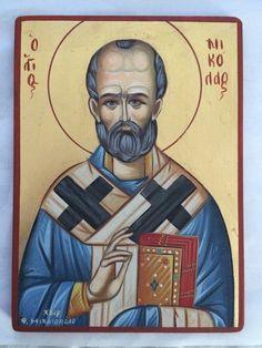 Saint Nicolaos Hand painnted Greek Orthodox Christian Byzantine Icon gold leaf  | eBay Byzantine Icons, Orthodox Christianity, Gold Leaf, Saints, Greek, Baseball Cards, Ebay, Collection, Art