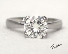 Solitaire+engagement+ring+diamond+ring+14K+white+by+TinkenJewelry,+$780.00