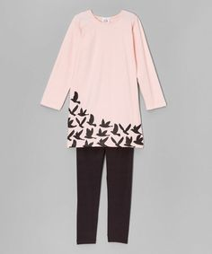 Another great find on #zulily! Pink & Black Birds Tunic & Leggings - Infant, Toddler & Girls #zulilyfinds