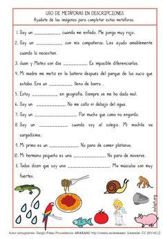 Spanish Language Learning, Teaching Spanish, Spanish Worksheets, Spanish Classroom, Figurative Language, Spanish Lessons, Teaching Tips, Speech Therapy, Activities