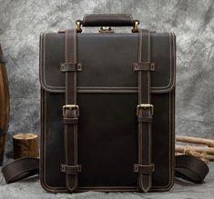 MAZZARÓ MULTIFUNKCIONÁLIS  BIVALYBŐR FÉRFI TÁSKA - LUXURY Vintage Leather Backpack, Leather Backpack For Men, Leather Backpacks, Laptop Backpack, School Bags, Travel Bags, Just In Case, Messenger Bag, Satchel