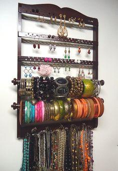 Jewelry Holder, BANGLE Bracelet Holder ( Double ), Oak, Wood, Dark Mahogany ~~ 11 Peg Necklace Rack, 54-108 Pair Earring Holder, Ready To Ship.