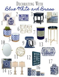 Decorating with Blue and White and Brass – How to Get the Look. Blue and White accessories. Blue and white decor for the home. Home decor in blue and white with brass. Classic blue and white decor. Blue White Decor, Decor, Blue And White Living Room, Blue Decor, White Decor, Decor Guide, Mediterranean Decor, Blue Home Decor, Home Decor