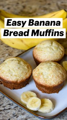 Banana Bread Muffins, Easy Banana Bread, Breakfast Muffins, Sweet Desserts, Delicious Desserts, Healthy Homemade Bread, Easy Cookie Recipes, How To Eat Paleo, Easy Snacks