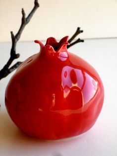 "4"" ceramic pomegranate - also available in all green and all white"