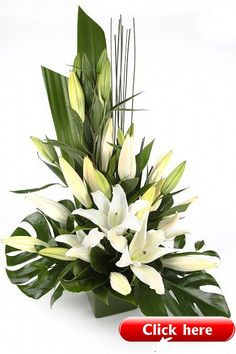 ideas flowers arrangements lily ikebana for 2019 Altar Flowers, Church Flowers, Funeral Flowers, Table Flowers, Silk Flowers, Wedding Flowers, Flowers Garden, Green Flowers, White Flowers