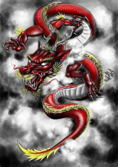 Red dragon by YooCysco on DeviantArt Dragon Tattoo Drawing, Red Dragon Tattoo, Small Dragon Tattoos, Dragon Sleeve Tattoos, Japanese Dragon Tattoos, Japanese Tattoo Art, Dragon Tattoo Designs, Dragon Tattoo Pictures, Dragon Pictures