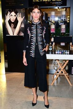 Alexa Chung Nails Inc Selfridges launch, London - September 20 2014  Alexa Chung wore a look from the Vilshenko pre-spring/summer 2015 collection with Jimmy Choo heels.