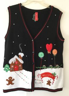 Ugly Christmas Gingerbread Candy Cane Sweater Vest Size M (8-10) Xmas Holiday  #Unbranded #VestSleeveless